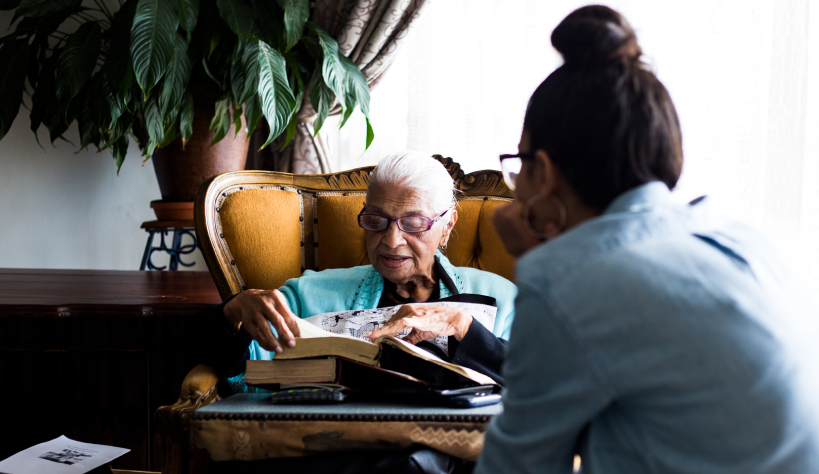 Photo of grandmother reading
