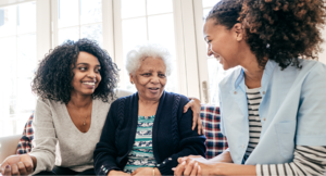 A caregiver with an adult daughter and her elderly mother