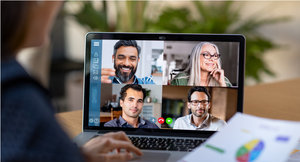 Photo of people on a video conference call