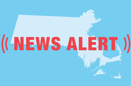 Graphic of the state of Massachusetts with a news alert