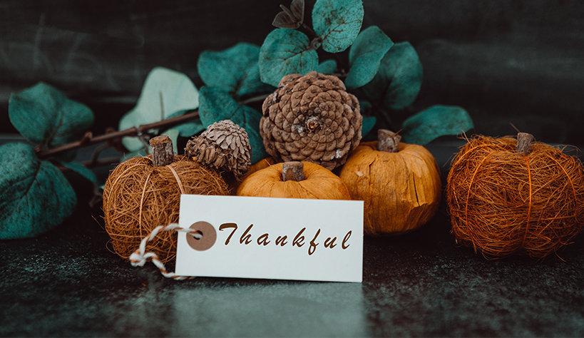 Fall foliage with a Thankful tag