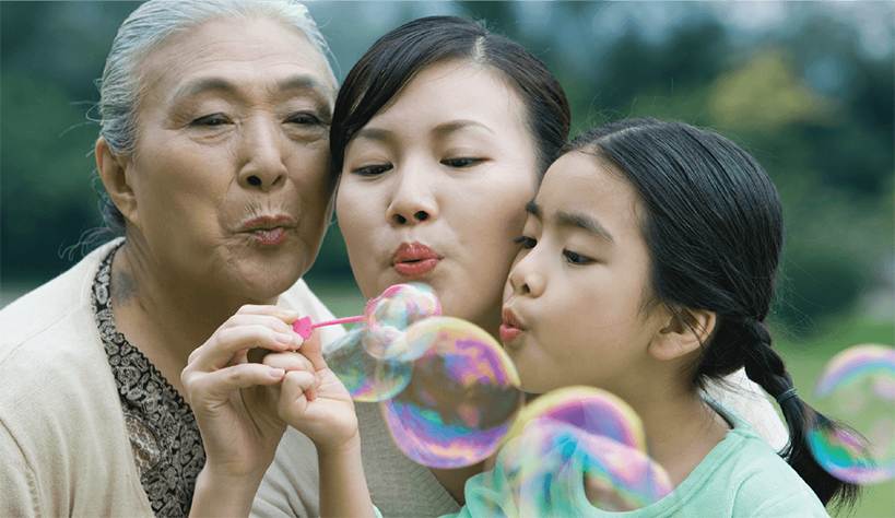 Photo of three generations of women in one family