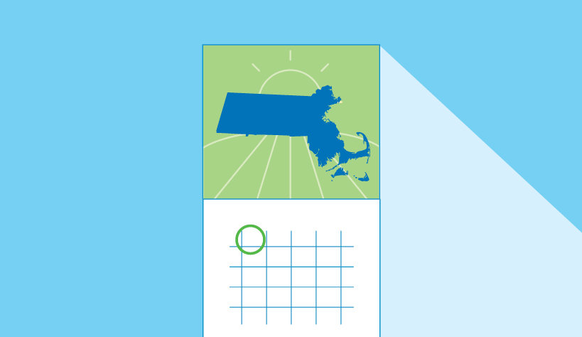 Graphic of Massachusetts with a calendar
