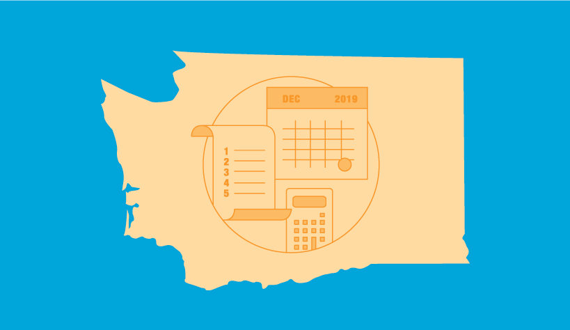 Image of the state of Washington with a calculator and calendar