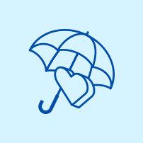 Icon of an umbrella over a heart