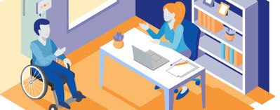 Graphic of a woman at her desk