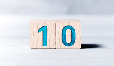 Photo of building blocks with the number 10