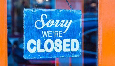 Sign saying Sorry We're Closed